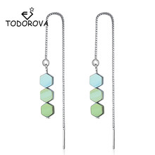 Todorova Simple Korean Fashion Geometric  Green Yellow Blue Hexagon Beads Long Tassel Drop Earrings Ear Line for Women Girl Gift