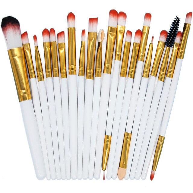 20 piunids/lote mango profesional de madera brochas de maquillaje Set sombra de ojos delineador de ojos brocha de maquillaje Bingfuchun herramientas de maquillaje