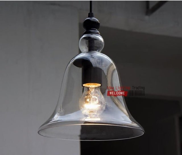 Free Shipping Discount Hot Selling Small Bell Glass Pendant Lights  Suspension Lamp 2 Light