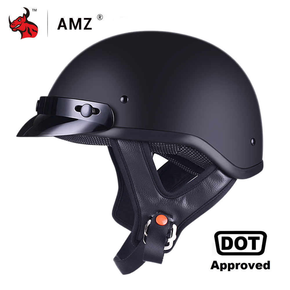 AMZ Motorcycle Helmet Half Face Retro Moto Helmet Vintage German Style Casco Casque Scooter Helmets With Inner Sun Visor DOT moto adult leather harley helmets for motorcycle retro half cruise helmet prince motorcycle german helmet vintage motorcycle