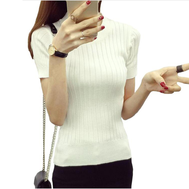 Women Fashion Sweater 2018 High Elastic Winter Green Red Black Tops Women Knitted Pullovers Short Sleeve Shirt Female Clothes 3