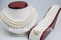 Wholesale price FREE SHIPPING ^^^^GW Natural 8 9MM AAA Triple Strand White pearl Set