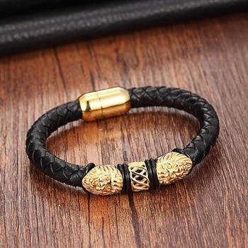 Gold Genuine Leather Stainless Steel Bracelets For Women Bracelets & Bangles Trendy Men Jewelry Fashion Charm Leather Bracelet 2