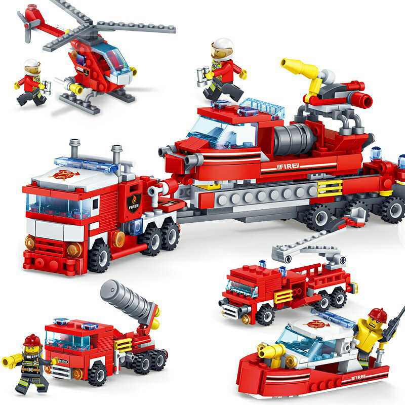 348pcs Fire Fighting Car Helicopter Boat Model Building Blocks Legoings City Firefighter Figures Trucks Bricks Children Toys