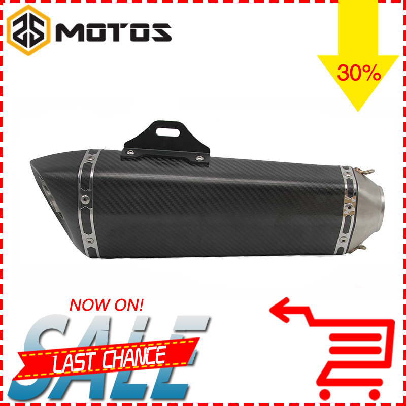 ZS MOTOS 430mm Universal Motorcycle Modifiy Akrapovic Carbon fibre Muffler exhaust pipe for Suzuki GSX250R 650 free shipping carbon fiber id 61mm motorcycle exhaust pipe with laser marking exhaust for large displacement motorcycle muffler