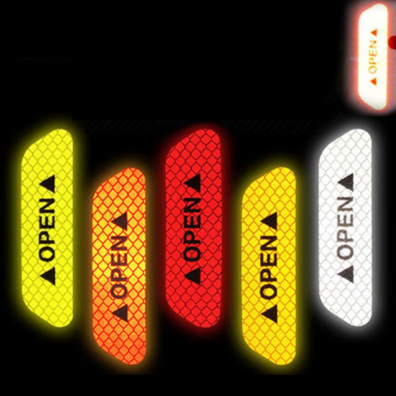 Image 2 - 4Pcs/Set Car OPEN Reflective Tape Warning Mark Reflective Open Notice Bicycle Accessories Exterior Car Door Stickers DIY-in Car Stickers from Automobiles & Motorcycles
