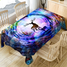 3D Waterproof Tablecloth Rainbow Elk Tree Hole Pattern Polyester Dustproof Table Cloth Christmas Dinner Decoration Table Cover