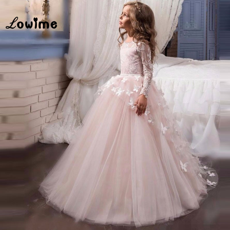 Butterfly Pink   Flower     Girl     Dresses   Beautiful Pageant   Dresses   For Little   Girl   Birthday Party   Dress   First Communion   Dresses   Cheap