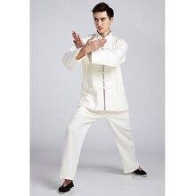 Традиционные Бежевый Китайских Людей Кунг-фу Равномерное Белье Костюм С Длинным Рукавом Одежды Размер M, Чтобы XXXL 2516