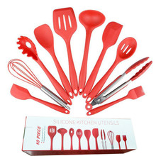 10pcs Kitchen Tools Set Silicone Cooking Utensils Spoon Spatula Ladle Egg Beaters Dinnerware