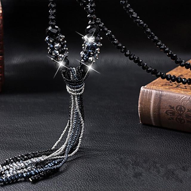 Купить женское длинное ожерелье с кристаллами heeda корейская цепочка