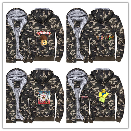 Hot game roblox Hoodie Winter Casual Super Warm Camouflage Coat Thicken Warm Zipper Hooded Casual Sweatshirts
