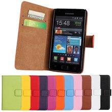 55f27b8858e De Lujo caja de cartera de cuero genuino para Samsung I9100 Galaxy S2 II  Plus I9105 imán de la cubierta del teléfono