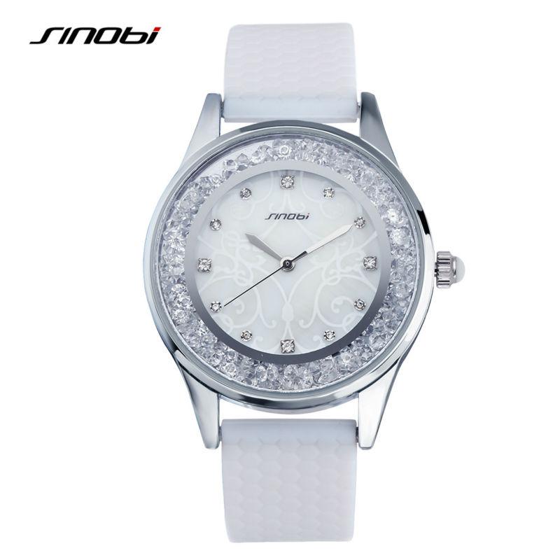 Prix pour Sinobi mode femmes de diamants montres silicone bracelet top marque de luxe dames genève quartz horloge femmes heures 2017