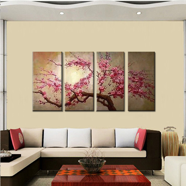 Handgemalte Rosa Baum Blume Ölgemälde Auf Leinwand Sakura Blooming