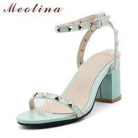 Meotina Women Sandals 2017 High Heels Sandals Rivet Ankle Strap High Heel Sandals Thick Heel Ladies