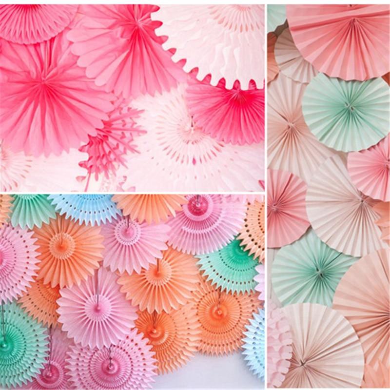 3Pcs/Set Paper Fan Flower Wedding Baptism Party DIY Flower Paper Fan Crafts Decor Weddin ...