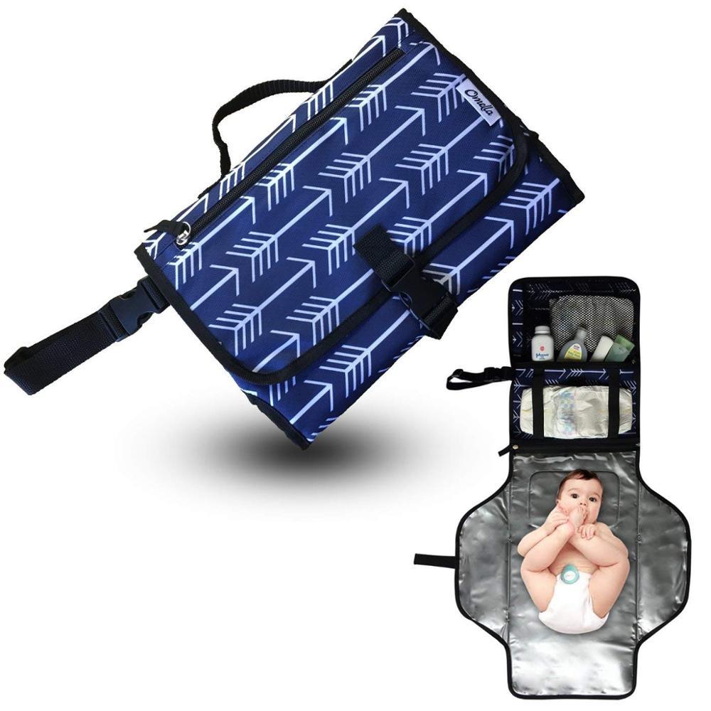 Портативный пеленальный коврик с мягкой подушкой на голову   Чехол для соски и силиконовый контейнер для детского крема   Водонепроницаемый сменный коврик - Цвет: Слоновая кость