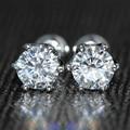 Reina Brillantez Real 18 K 750 Oro Blanco Retroceder 0.6 Carat ct F Color Laboratorio Crecido Moissanite Diamante 6 Dientes Para mujeres