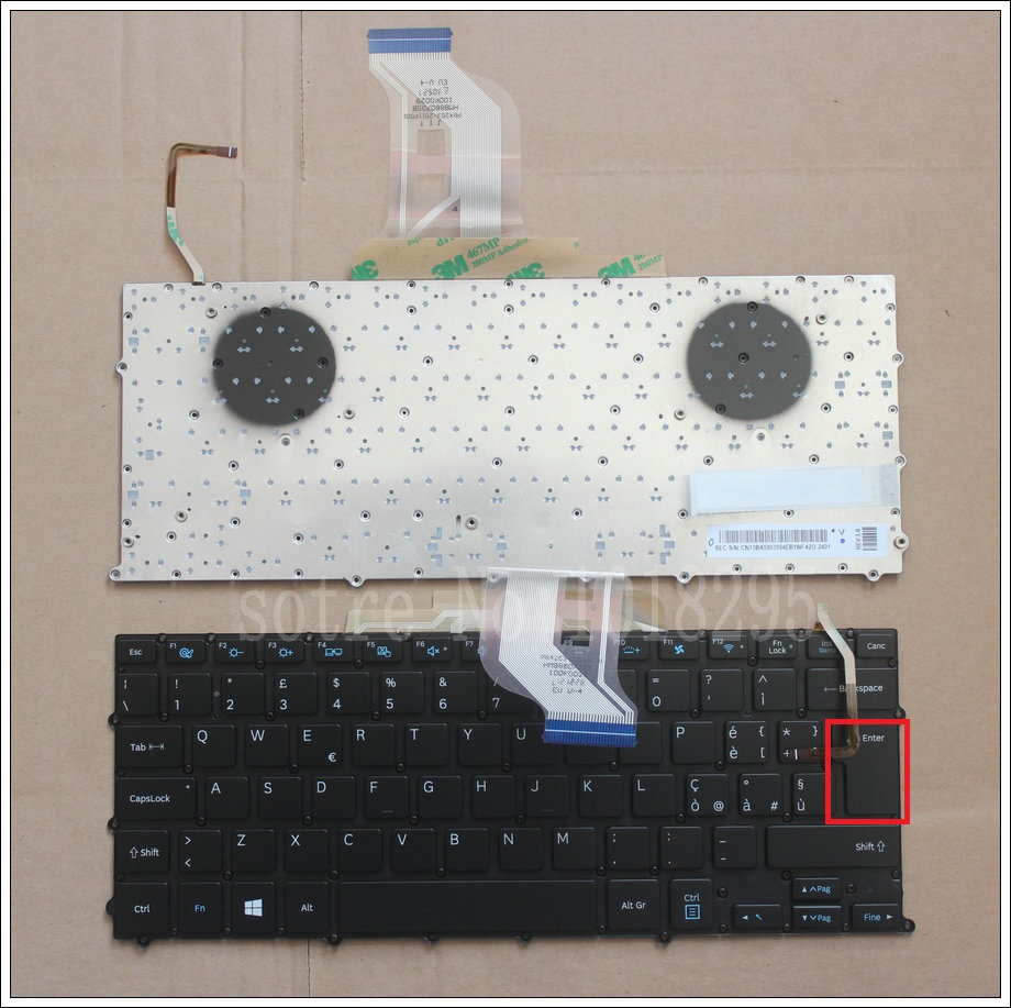 NEW FOR Samsung NP  900x3b 900X3C 900X3D 900X3E Keyboard Backlit IT Italy No Frame Big Enter