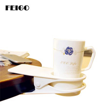 FEIGO 1Pcs New Coaster Desk Cup Holder Clip ABS Cupholder Plastic Office Drinks Beverages Creative Home Table Storage Rack F252