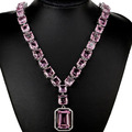 "Gorgeous Pink Kunzite, White CZ Created SheCrow Woman's Wedding   Silver Necklace 18.5"" 18x13mm"