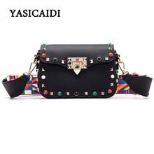 Цвет заклепки небольшой лоскут женщин сумки Crossbody широкий плечевой ремень сумка Ретро замок из искусственной кожи с пряжкой алмаз сумка