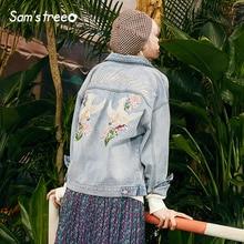 Samstree Floral & Birds Print Embroidery Korean Style Denim Jacket Women Coat 2019 Autumn Streetwear Casual Ladies Outwear