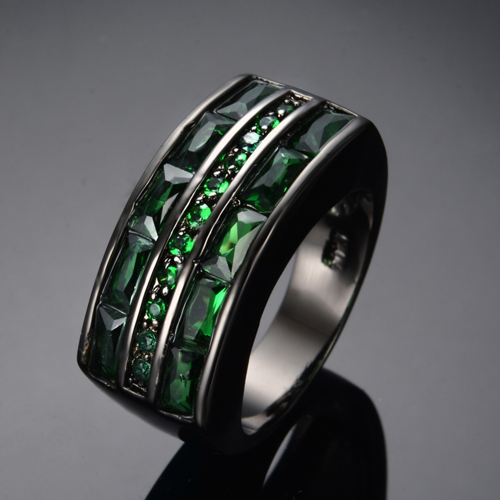 green mens wedding bands 8MM Tungsten Ring Green Diamond Carbon Fiber Inlay Mens Wedding Band Size 8 14