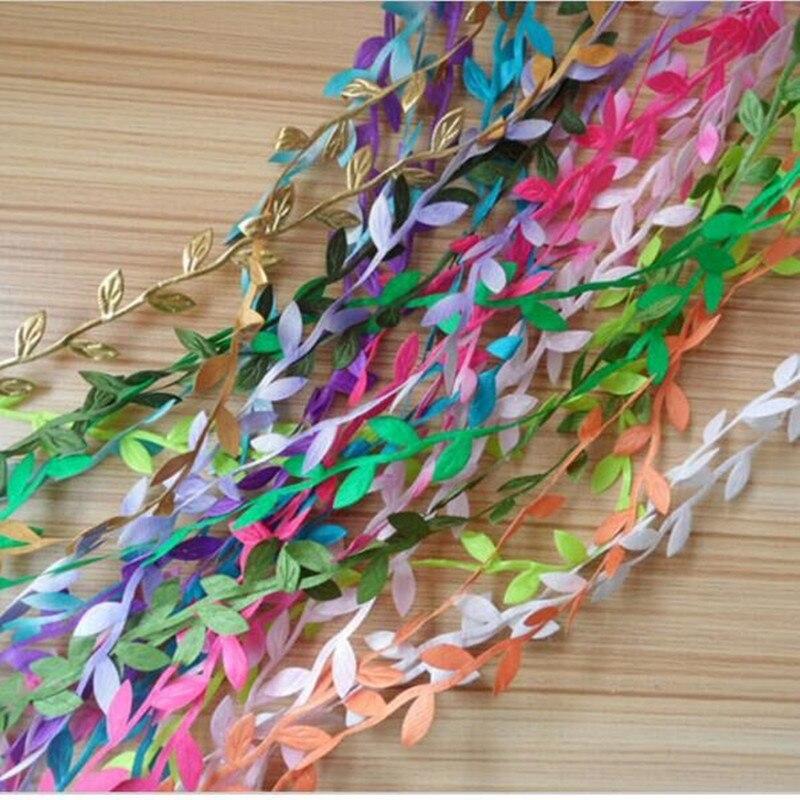 2 m Verde Artificial de Seda de Flores Hojas Ratán Accesorios Para El Hogar Deco