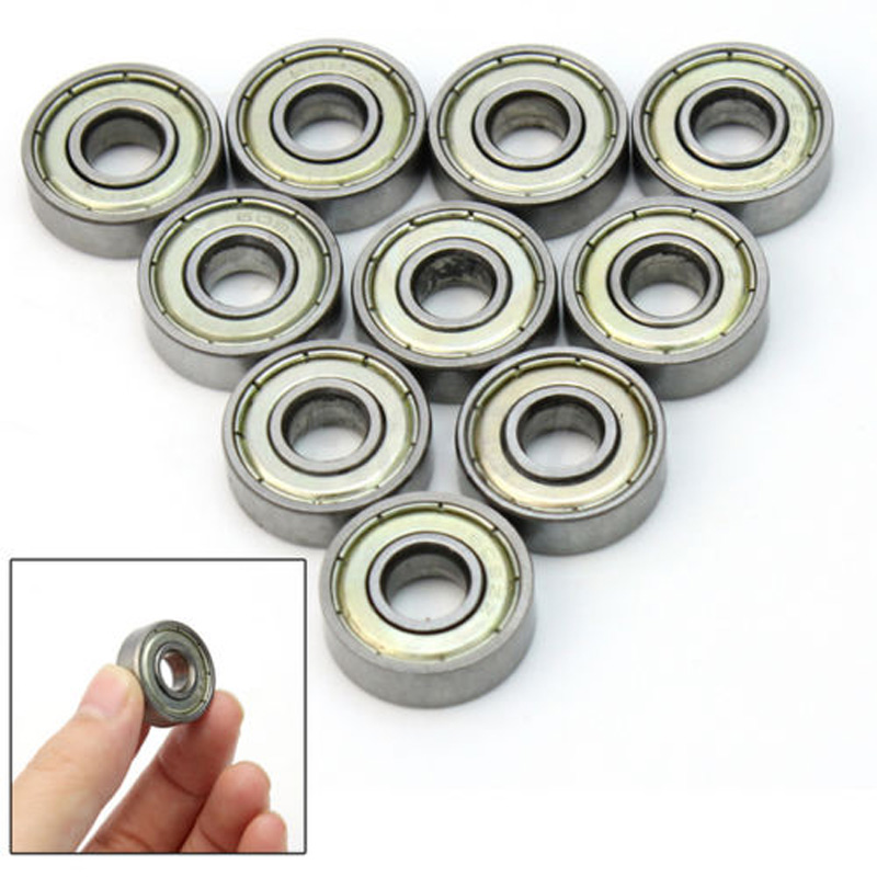 10 X Metal  8*22*7mm  Deep Groove Sealed Shielded Ball Bearing Miniature Skateboard Scooter Roller Wheels VEJ19 P20 6000 2rs sealed deep groove ball bearing 10mm inner dia black silver tone