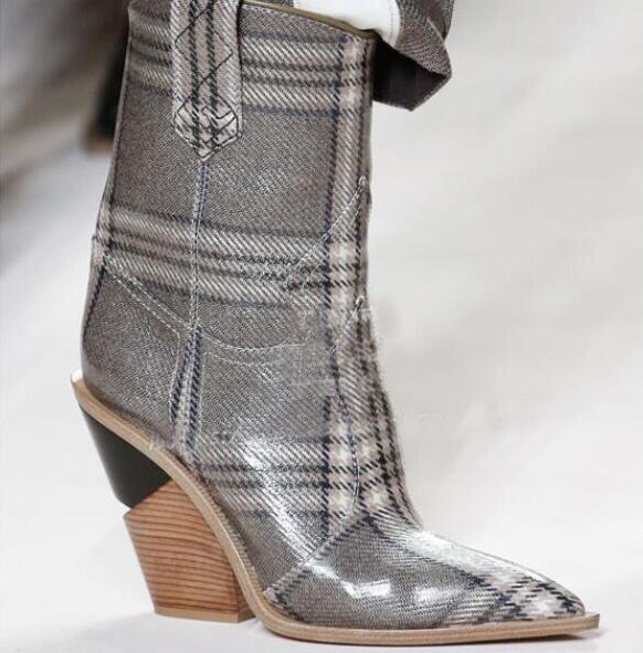 Cuir Pic Slip As Européenne 2018 Nouvelle mollet as Véritable Bout Mi on Pointu En Compensées Chaussures Bottes Femmes Pic Catwalk Spectacle Arrivée Western 7xAqwXqCB