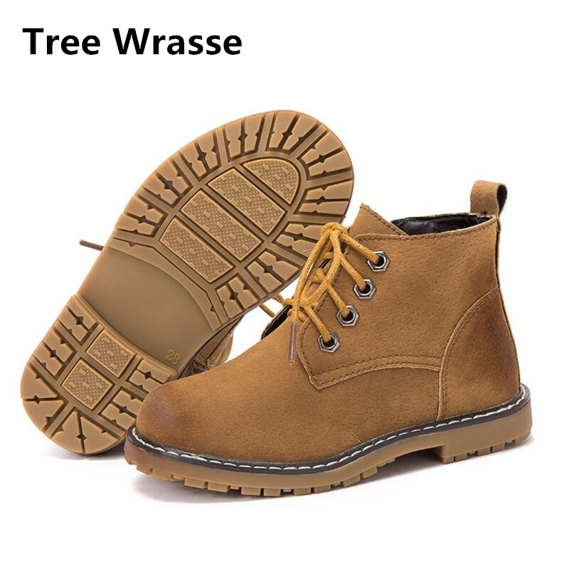 Autumn New Children Martin Boots Boys Girls Winter Rubber Shoes Kids Ankle Snow Boots Brown Single Boots For Tree Wrasse ...