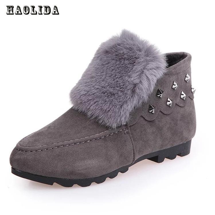 2017 г., модные зимние женские ботинки кашемировые женские короткие ботинки с кроликом, утолщенная Студенческая теплая обувь нескользящие бо...