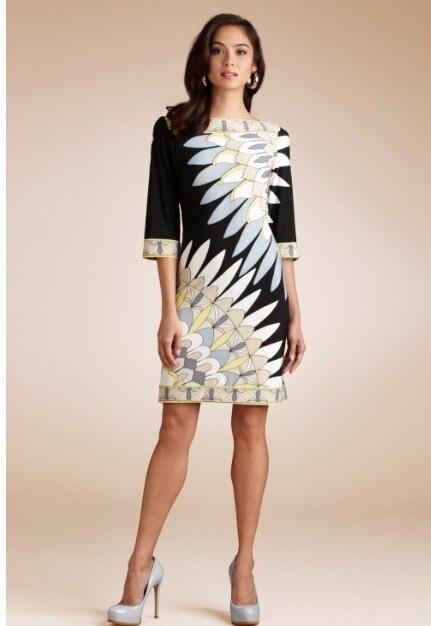 Casual dress koop nieuwe collectie freeshipping zijde vestido mode abstracte print patroon elegante ol gebreide een stuk dress-in Jurken van Dames Kleding op  Groep 1