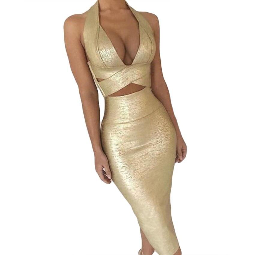 UKCNSEP or robe impression deux pièces ensembles Bandage robe élégante licou croix dos nu taille haute célébrité robe de soirée Vestidos