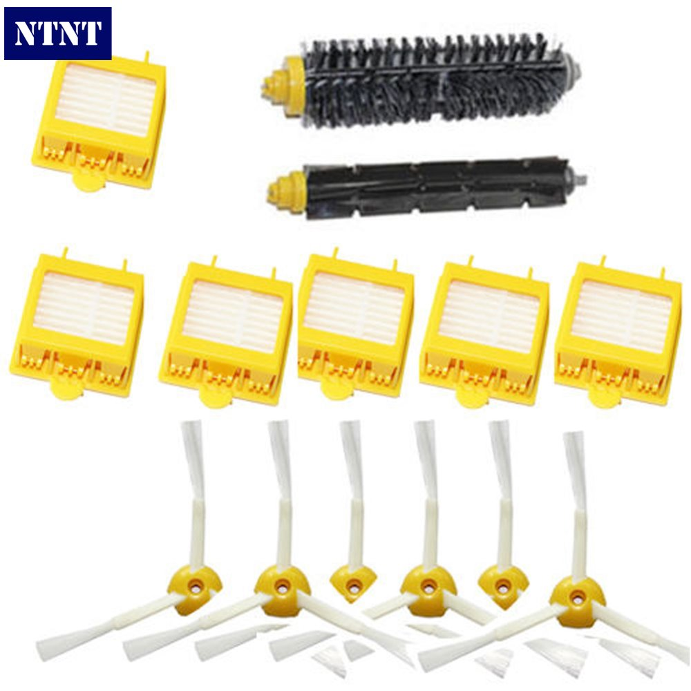 NTNT For iRobot Roomba 700 Series 760 770 780 790 Hepa Filters Bristle Brush Flexible Beater Brush 3-Armed Side Brush Pack Set 14pcs free post new side brush filter 3 armed kit for irobot roomba vacuum 500 series clean tool flexible bristle beater brush