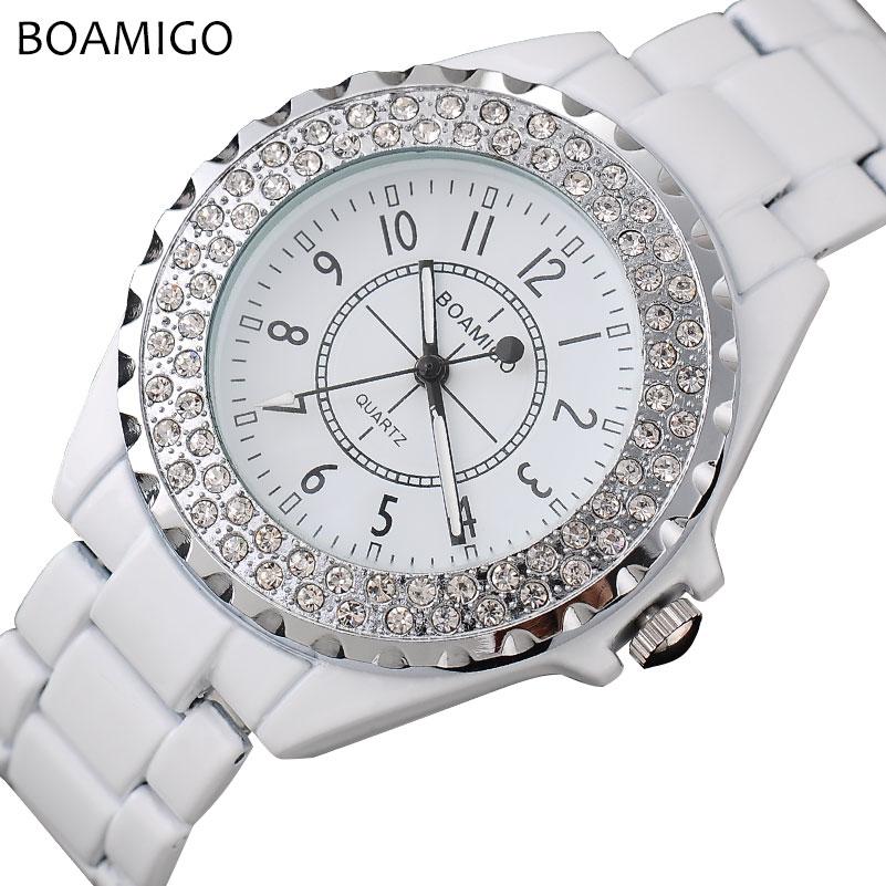 Prix pour Femmes quartz montres mode BOAMIGO marque dames bracelet blanc montres femmes robe montres femme horloge relogio feminino