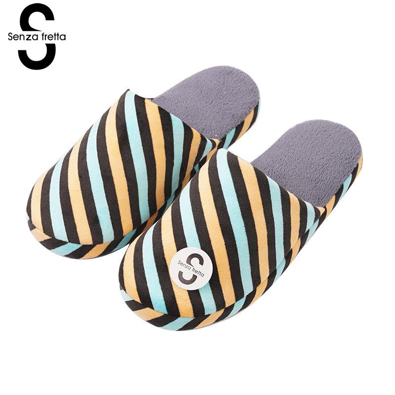 Senza Fretta 2018 New Men Shoes Indoor Warm Cotton Slippers Non-slip Soft Bottom Slippers Couple Men Slippers Men Shoes Big Size mashimaro new arrival men s linen slippers cotton fabric hemp slippers beach non slip indoor slippers men s fashion slippe