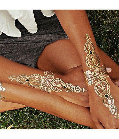 Gold Tattoos Flash Tattoo Temporary Tattoo Sticker Metallic Golden