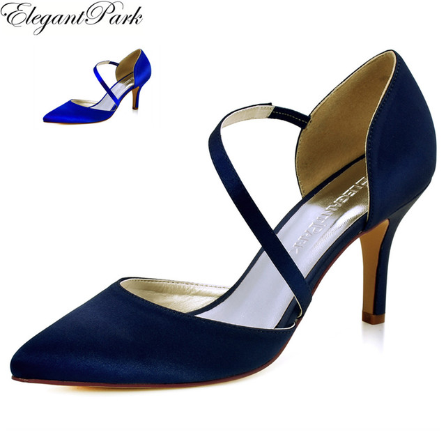 HC1711 Womenu0027s High Heel Wedding Bridal Shoes Navy Blue Pointy Toe Satin  Female Lady Bridesmaid Woman