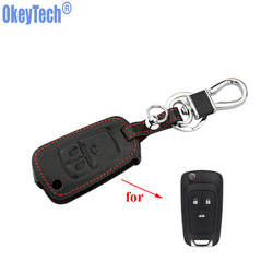 OkeyTech skórzany kluczyk samochodowy z pilotem łańcuszek etui na klucze pokrywa dla opla ASTRA J Astra Corsa Antara Meriva Zafira Insignia MOKKA|car key case cover|key case for carcar remote key covers -