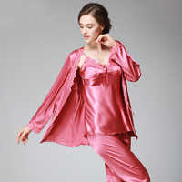 SSH036 Lady Silk Satin Pajama Women Sexy 3 Pieces Pajama Set Sleepwear V-neck Top Full Sleeves Full Length Pant Nightwear Autumn