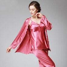 SSH036 Lady Silk Satin Pajama Women Sexy 3 Pieces Pajama Set Sleepwear V-neck Top Full Sleeves Full Length Pant Nightwear Autumn see through slip pajama top transparent sleepwear