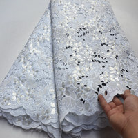 Hot 5 yards/lot White Big voile lace African Hand cut Organza Lace Fabric with Lots of stones sequins!QS159
