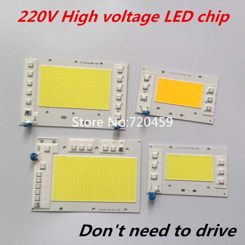 5pcs High power LED Chip 220V High voltage Dont need to drive 150W 100W 50W COB chip lamp light For DIY Spotlight Floodlight