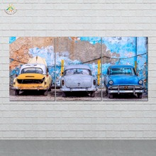 Wall Art HD Prints Canvas Painting Modular Picture And Poster Three Vintage Cars Decoration Home 3 PIECES
