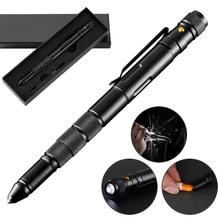 5 в 1 портативная тактическая ручка, фонарик, аварийный выключатель стекла, водонепроницаемый чехол для хранения, уличный инструмент для самообороны, спасения, EDC