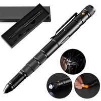 5-In-1 Portable Tactical Pen Flashlight Emergency Glass Breaker Waterproof Storage Case Outdoor Self Defense Rescue EDC Tool