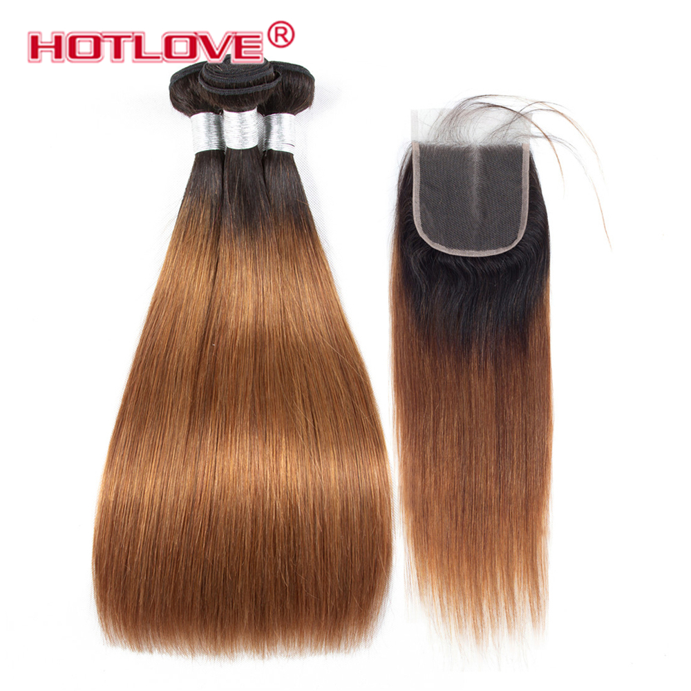Hotlove Hair Ombre Brazilian Hair Straight Ombre Bundles With Closure 3 Ombre Human Hair Bundles With Closure Non Remy T1B/30